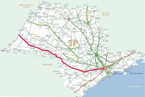 Mapa da Rodovia Raposo Tavares